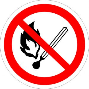 (029) Знак Запрещается пользоваться открытым огнем и курить