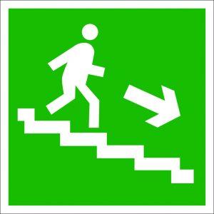 (059) Знак Направление к эвакуационному выходу (по лестнице направо вниз)