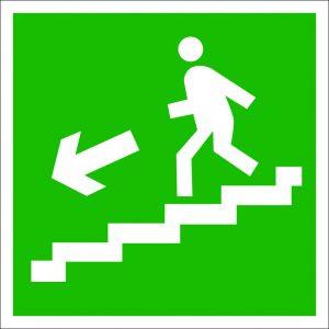 (060) Знак Направление к эвакуационному выходу (по лестнице налево вниз)