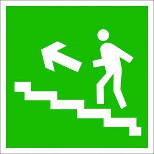 (062) Знак Направление к эвакуационному выходу (по лестнице налево вверх)