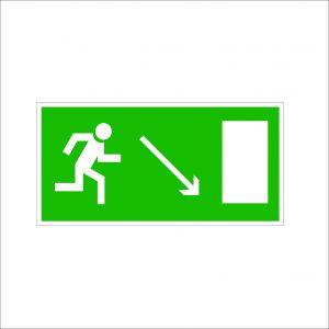 (074) Знак Направление к эвакуационному выходу(по наклонной плоскости направо вниз)