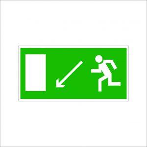 (075) Знак Направление к эвакуационному выходу(по наклонной плоскости налево вниз)